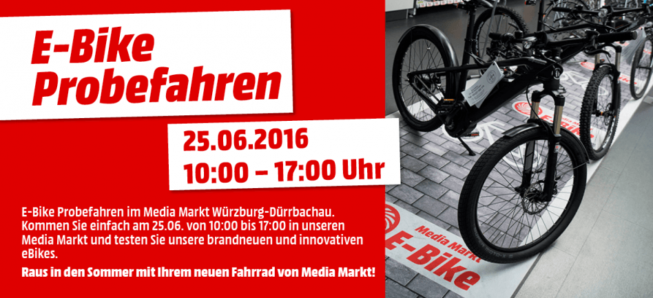 e bike probefahren mediamarkt w rzburg d rrbachau. Black Bedroom Furniture Sets. Home Design Ideas